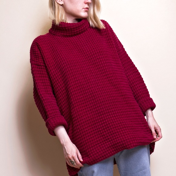 00fcf51a814 Vintage 80s oversized waffle knit tunic turtleneck